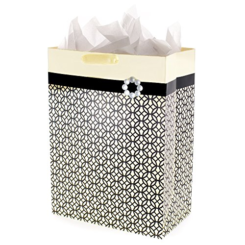 (Hallmark Mega Gift Bag with Tissue Paper (Black, Ivory and Gold, Endless Circles))