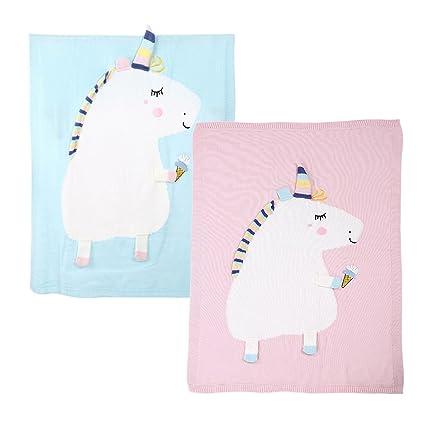 Prettyia 2 piezas de Manta de Unicorn Suave para Bebés Niños de color Azul Rosa