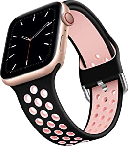 Compatible for Apple Watch Band 40mm 38mm Soft Silicone Sport Band Replacement Wrist Strap Compatible for iWatch Series 6/SE/5/4/3/2/1 Suitable for Men and Women