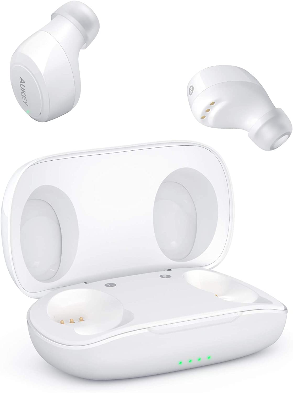 AUKEY Auriculares Inalámbricos, Deportivos, Portátiles con Estéreo de Alta Fidelidad, Bluetooth 5.0, IPX5, Control Táctil, Sincronización Automática, Cancelación de Ruido y un Caja para Carga
