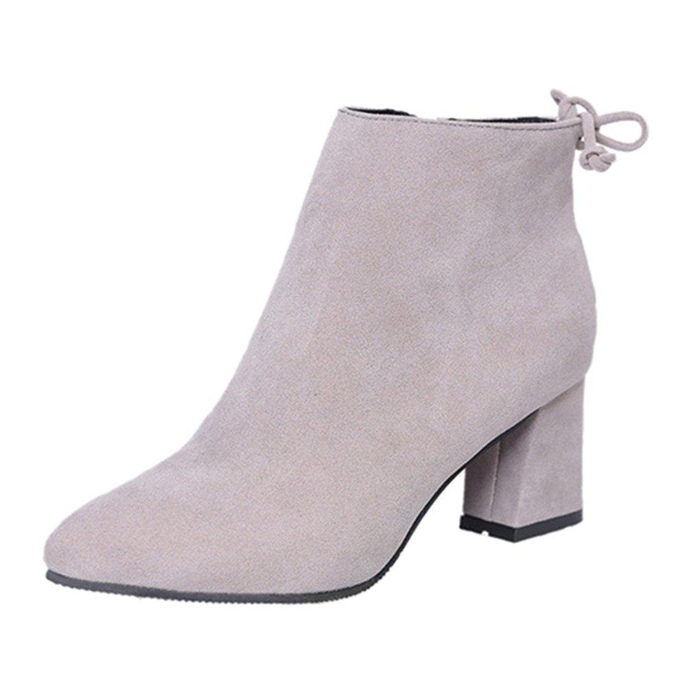 Hibote B075WNW7C7 Chaussures s Bottes Élégantes de Mode Cheville Mode de 2017 pour Femmes Bottines Talons Gris e0d37f4 - shopssong.space