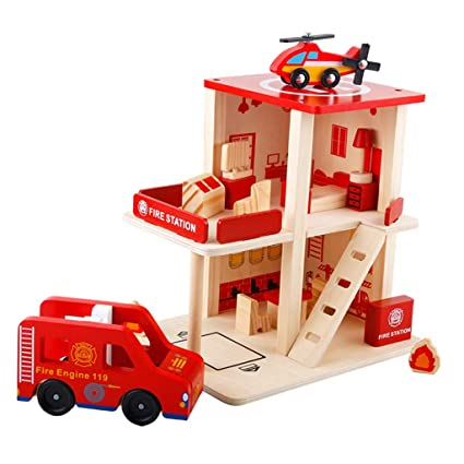 b042795d9 Baoblaze Deluxe Wooden Fire Station Play Set with Fire Truck DIY Miniature  Project Kit for Kids Boys and Girls, Wood - Amazon Canada