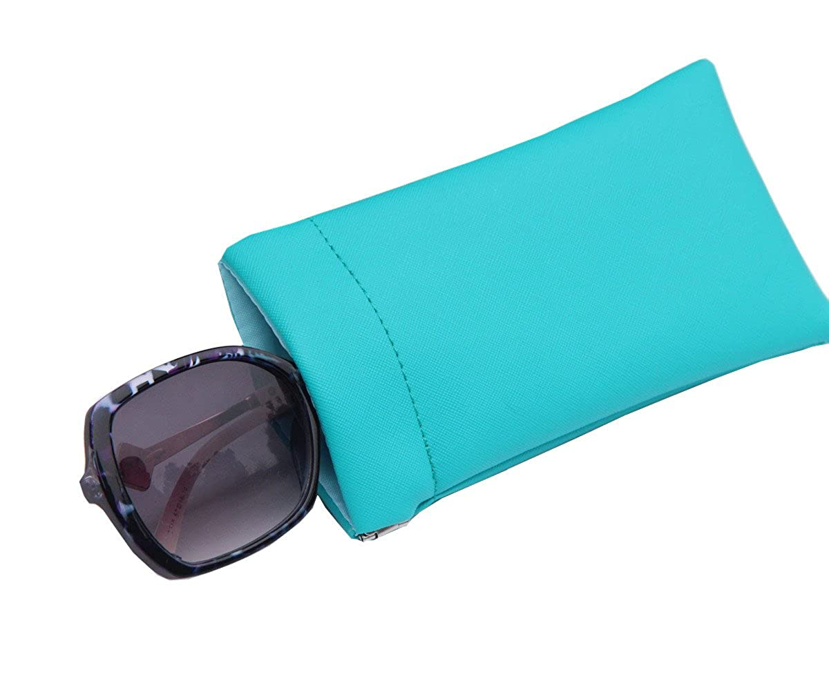 Saferin 2PCS Portable Eyeglass Pouch Sunglass Goggles Case Hard Shell Glasses Case with Cleaning Cloth