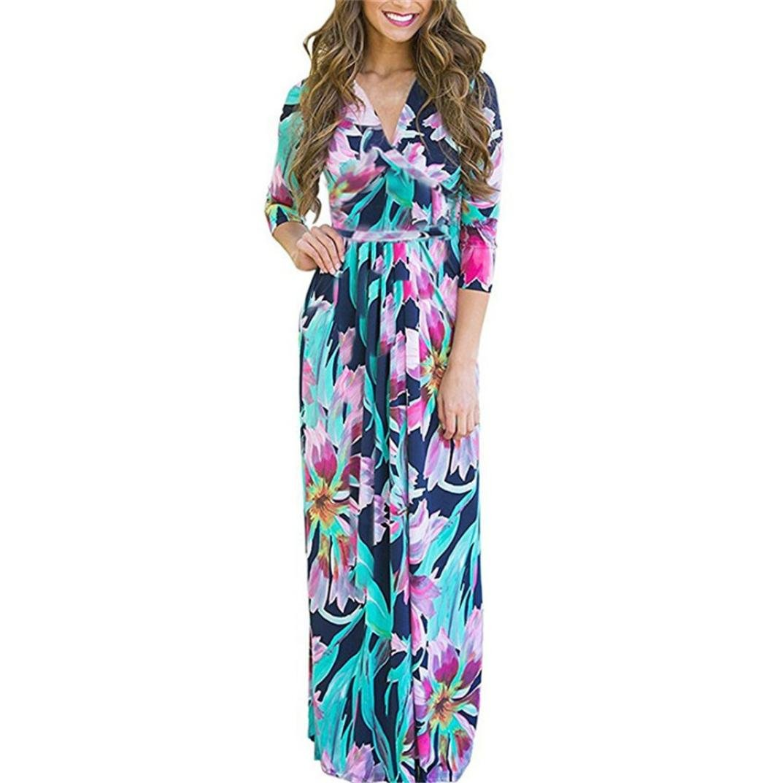 Xchenda Fashion Womens Print Three Quarter Sleeve Deep V-Neck Mini Dress Button Holiday Beach Dress (XXL, Blue)
