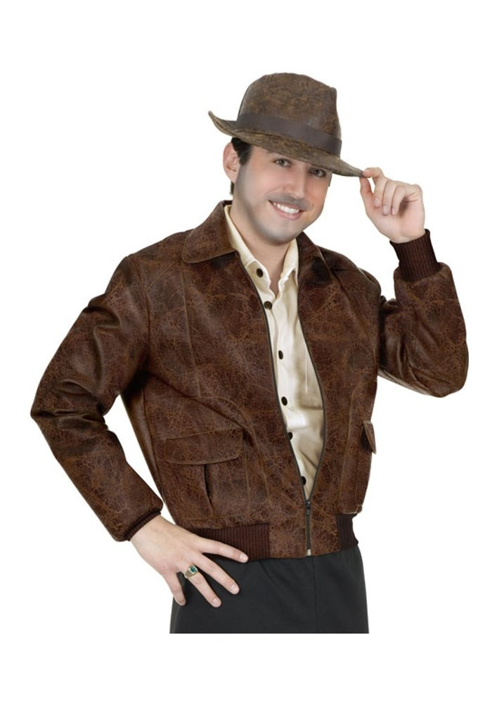 Charades Brown Faux Leather Jacket & Hat (Size:X-Large) by Charades