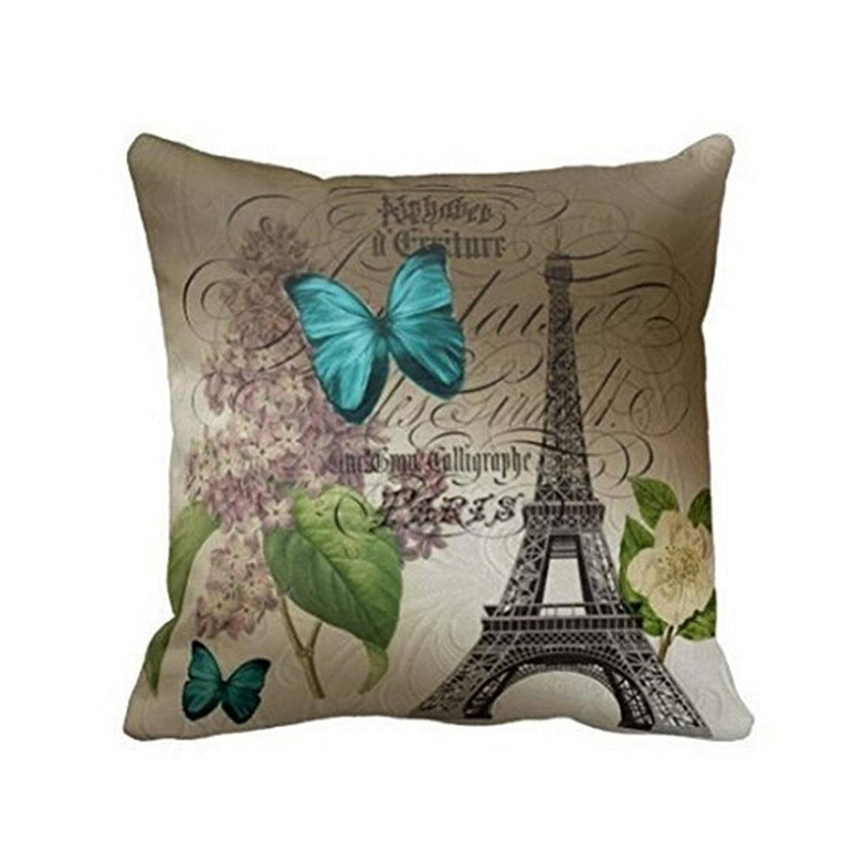 Hatop Blue Butterflies Paris Eiffel Tower Print Throw Pillow Case