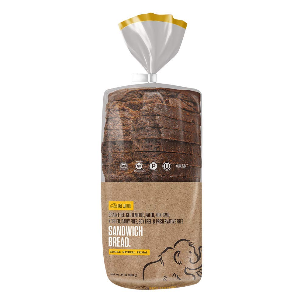 Base Culture Paleo Bread, Large Size | Delicious 100% Paleo Certified, Gluten Free, Grain Free, Non GMO, Dairy Free, Soy Free | Perfect for Sandwiches | 24oz, 18 Slices Per Loaf, 4 Count
