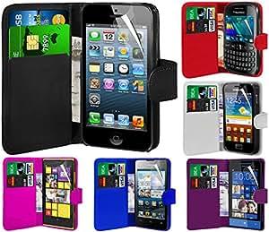 Direct-2-Your-Door - Motorola Razr XT890 Yo superior de la PU billetera de cuero cubierta de la caja de la bolsa y protector de la pantalla - Blanco