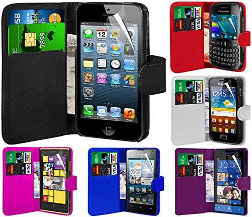 N4U Online - Apple Iphone 4 4S Prime PU Portefeuille en cuir Housse Etui & Protecteur d'écran - Pourpre