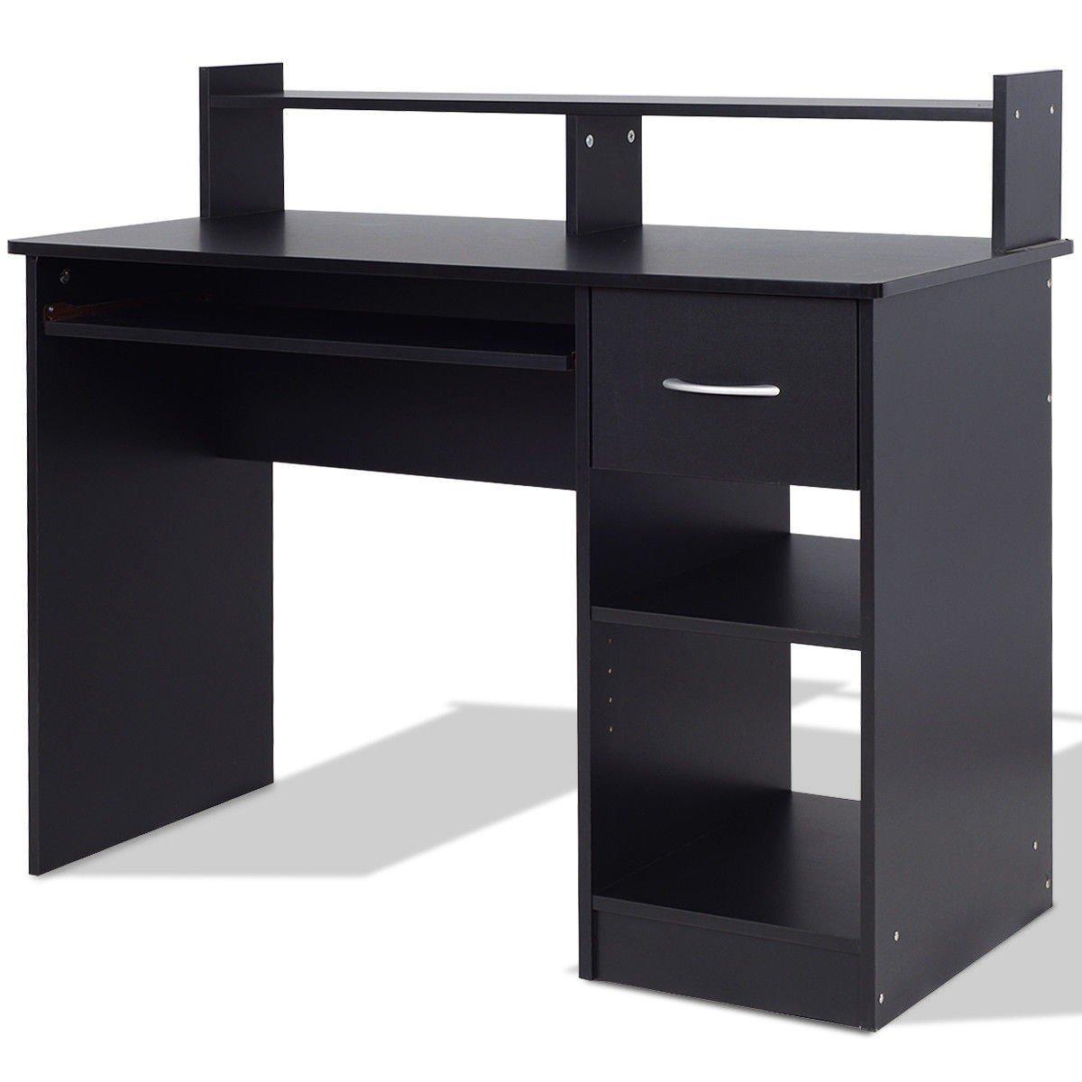 CHOOSEandBUY Modern Computer Desk Workstation w/Storage Drawer & Shelf Desk Computer Table Laptop Office Workstation Black Modern Home
