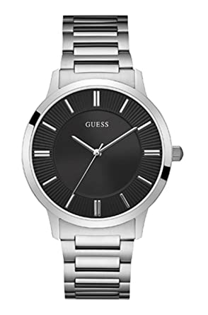 Guess Watches Mens Guess Mens Silver-Black Watch