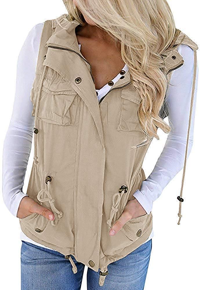 Hestenve Womens Jacket Vest Military Hoodie Utility Lightweight Drawstring Zipper Anorak (Small, Z-Khaki) by Hestenve