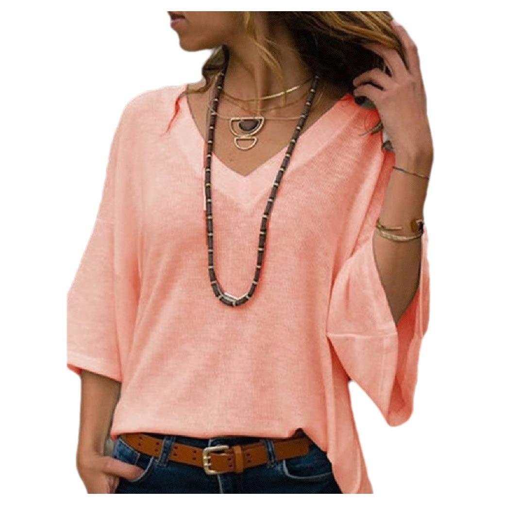 Mfasica Womens Loose Knitting Pagoda Sleeve V-Neckline Plus-Size Shirt Top