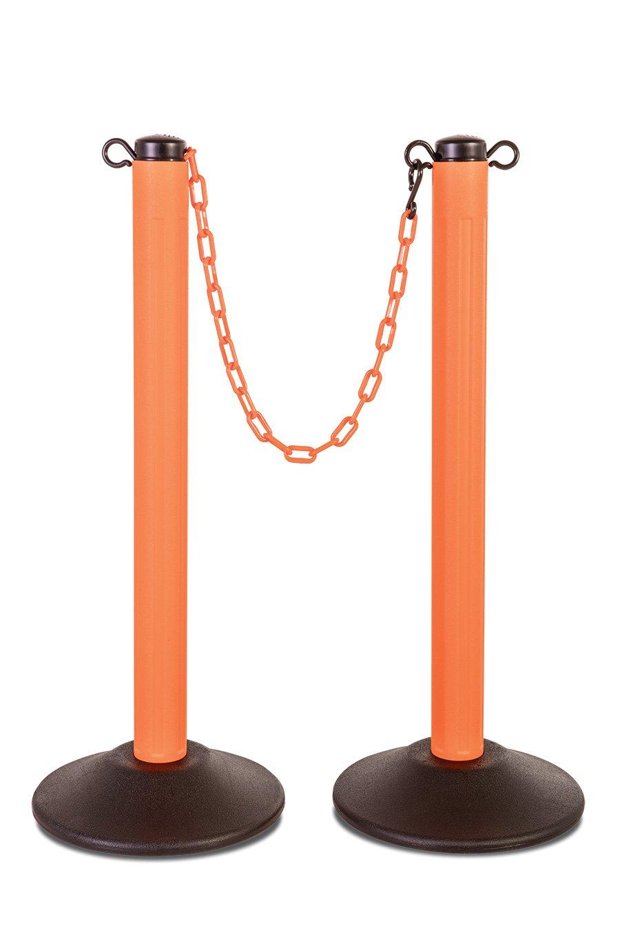 US Weight ChainBoss Indoor/Outdoor Orange Stanchion – Fillable Base– Orange Chain