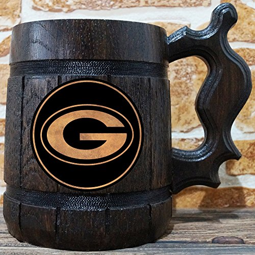 Nfl Beer Personalized - Green Bay Packers Beer Mug, American Football Wooden Beer Stein, NFL Sport Gift, Personalized Beer Stein, Green Bay Packers Tankard, Groomsman Gift, Gift for Him