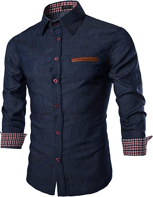 COOFANDY Men's Casual Dress Shirt Button Down Shirts Long-Sleeve Denim Work Shirt: Clothing