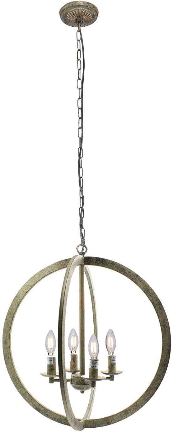 Bronze Q-Max A0006 20 Industrial Vintage Metal Iron Frame Round Sphere Cage Chain Hanging Chandelier Ceiling Light 4-Buibs Lighting Fixture