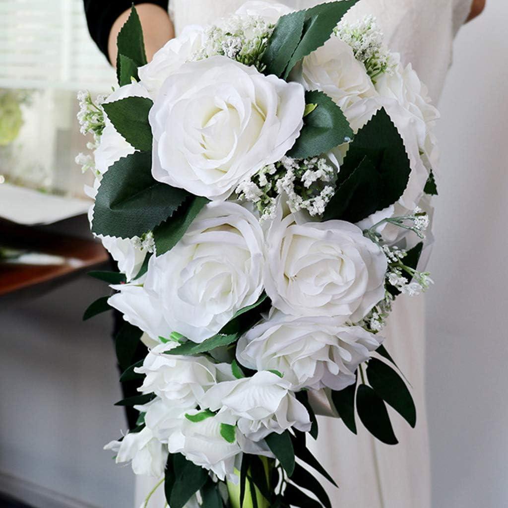 Tinaa Brautstrau/ß Hochzeit Wasserfall K/ünstlich Rosen Band Deko Hochzeitsstrau/ß