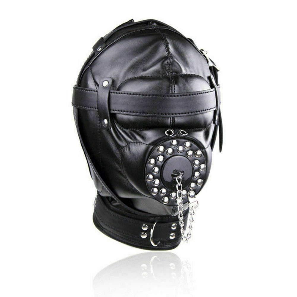 Full Head Restraints Mask Hood Cover Hole Gag Fetish Headgear Head Blindfold Toy by CQDZ