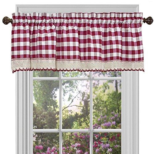 Designer Home Window Panel Curtain Drape Valance Scarf Gingham Checked Checkered Plaid Burgundy - 58
