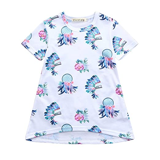 a4c2d7f89c0 Amazon.com  OMINA T-Shirt Dresses for Baby Girls Midi Short Sleeve Feather Floral  Print Dress Soft Summer Skirt Outfits  Clothing