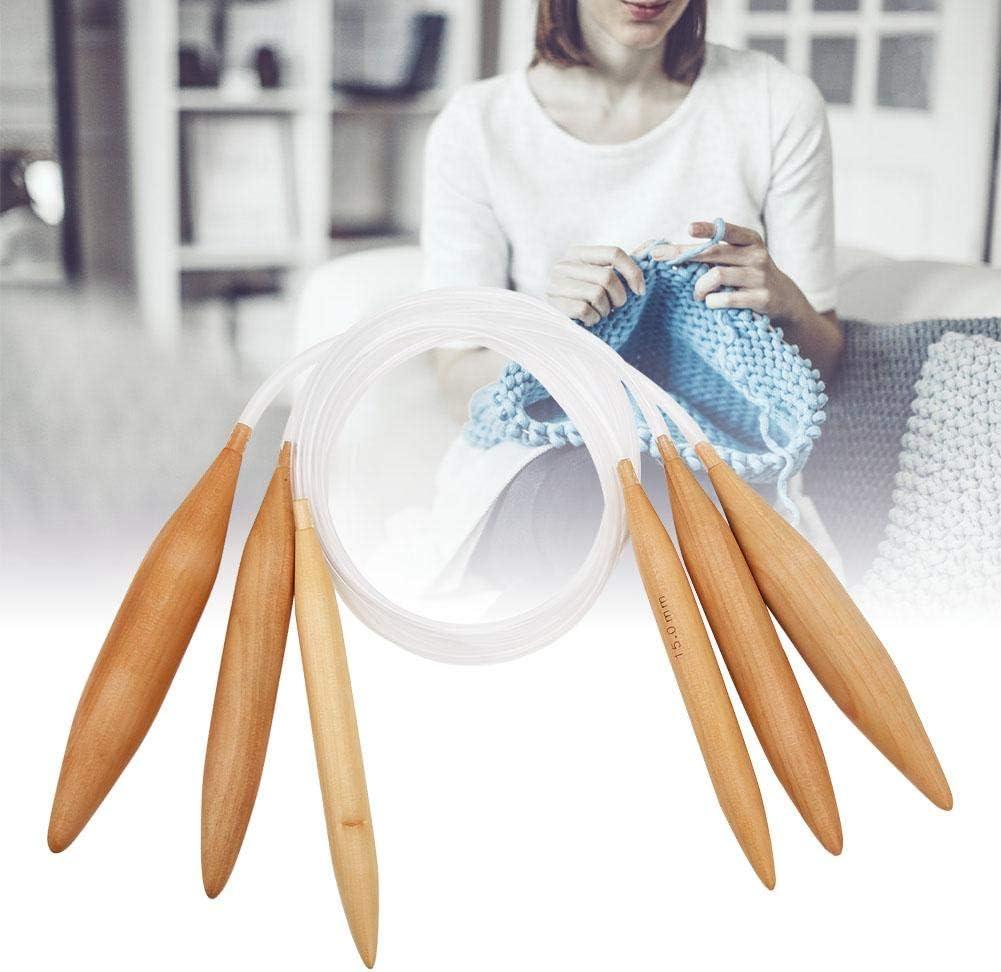 Ferri da Maglia circolari in Legno Strumento per Maglieria a Uncinetto Trasparente in bamb/ù con ago Intrecciato con Tubo di plastica colorato HEEPDD Set di 3 Ferri da Maglia in bamb/ù
