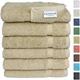 "Turkish Luxury Hotel & Spa 16""x30"" Hand Towel Set of 6 - 100% Genuine Turkish Cotton - Organic Eco-Friendly (Hand Towels, Taupe)"
