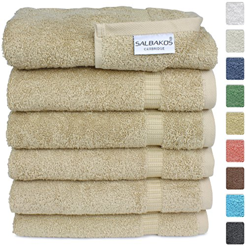 SALBAKOS Luxury Hotel & Spa Turkish Cotton 6-Piece Eco-Friendly Hand Towel Set 16 x 30 Inch, Taupe - Taupe Hotel Spa Collection