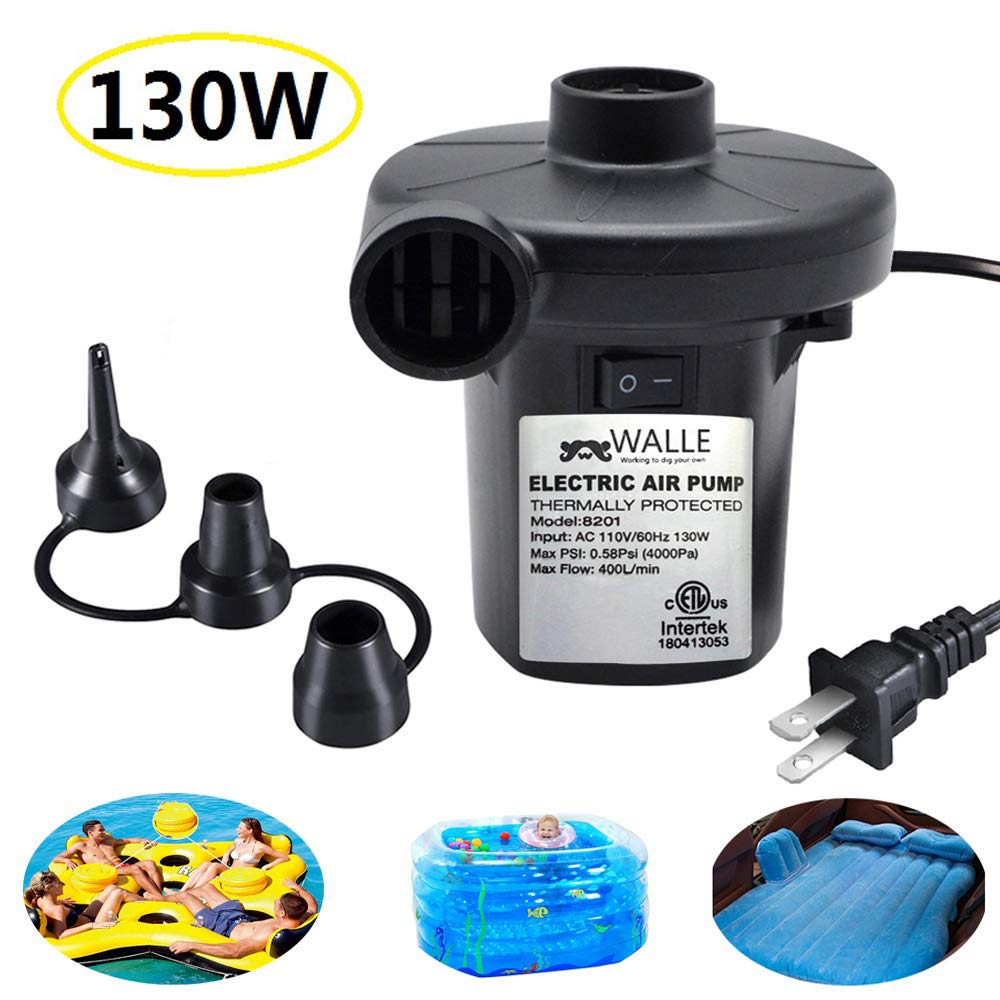 WALLE Electric Air Pump for Inflatables, Portable Quick Air Pump with 3 Nozzles for Air Mattresses Beds Boats Swimming Ring Inflatable Pool Toys 110V AC (130W)