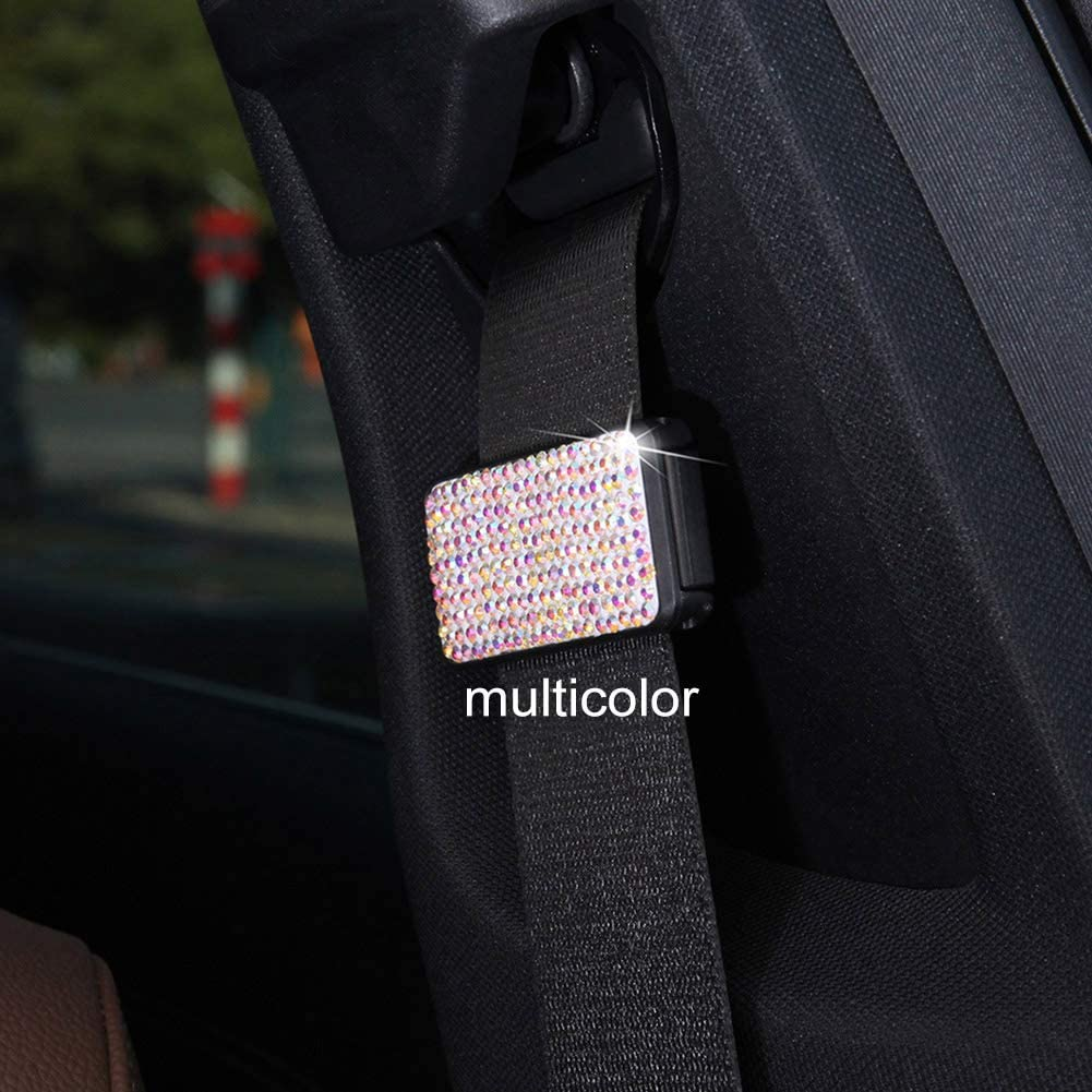 RENNICOCO Car Seat Belt Adjuster,Bling Crystal Rhinestones Seatbelt Clips Auto Shoulder Neck Strap Positioner Locking Clip