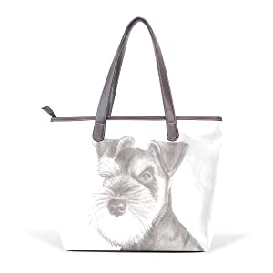 TJDY Store Miniature Schnauzer Puppy PU Leather Handbags Tote Bag Zip Bag Shopping Bag for Woman's