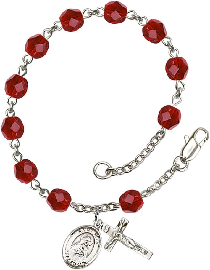 Silver Plate Rosary Bracelet Features 6mm Ruby Fire Polished Beads The Crucifix Measures 5//8 x 1//4 Rita of Cascia Medal Patron Saint Loneliness//Lost Causes The Charm Features a St