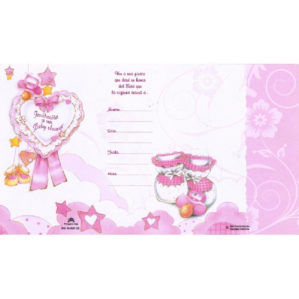 BABY SHOWER INVITATION SPANISH W/ENVELOPE GIRL 100/PKG