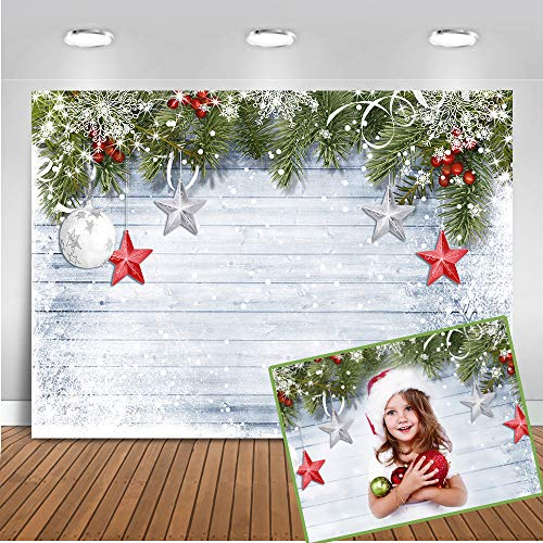 Mocsicka Christmas Theme Backdrop 7X5ft Shooting Background Gray Wood Snow Backdrops Christmas Ball Star Decoration Photo Background Childrens Party Christmas Photography Background
