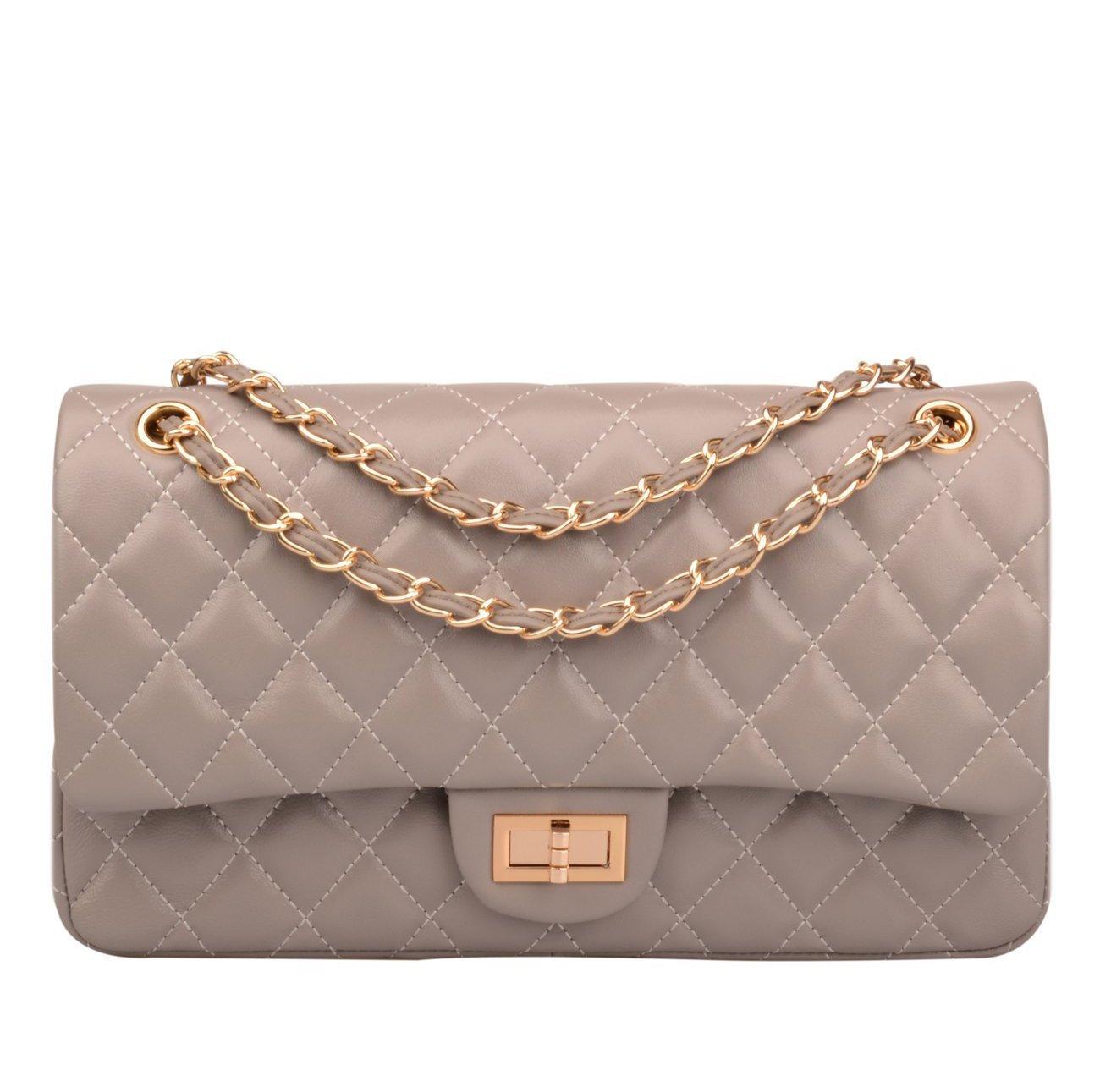 5d85e890380e Ainifeel Women s Genuine Leather Quilted Chain Bag Shoulder Handbags Purse ( Medium