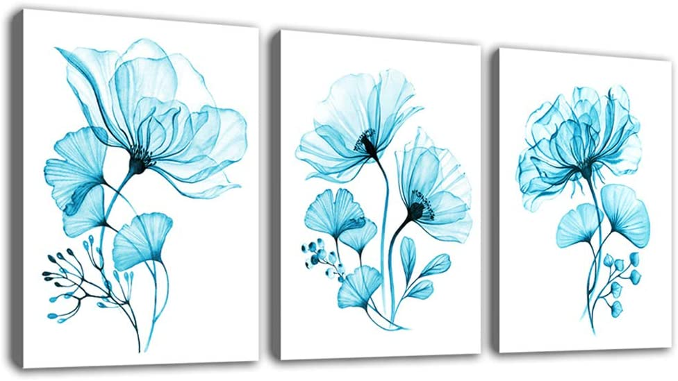 "tigeridge Teal Flowers Canvas Wall Art Bedroom Decor Blue Bathroom Livingroom Office Wall Art Decor Modern Artwork Canvas Picture Home Decor Framed Ready to Hang 12"" x 16"" x 3P"