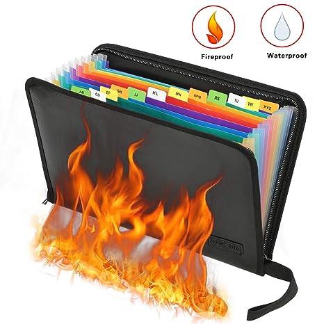 Bolsa protectora de documentos ignífuga e impermeable, Bolsa de archivos a prueba de fuego A4
