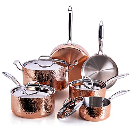 Oprah Suggested Her Favorite Things - Fleischer & Wolf Seville Series  Cookware Set (10-Piece) - Tri-ply Hammered Stainless Steel Copper-Oven and  Grill ...
