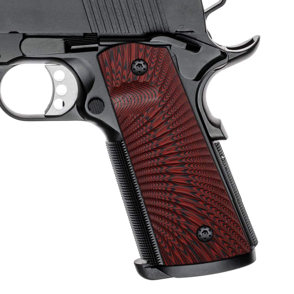 Cool Hand 1911 Grips, Magwell Cut, Full Size(Government/Commander), Sunburst Texture,G10, Ambi Safety Cut Red/Black by Cool Hand