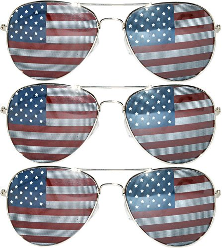 Classic Aviator Sunglasses American Flag Lens Metal Frame UV Protection OWL. (3-pairs-silver, American Flag - American Sunglasses Lenses With Flag