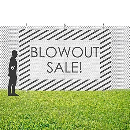 12x8 Blowout Sale CGSignLab Stripes White Wind-Resistant Outdoor Mesh Vinyl Banner