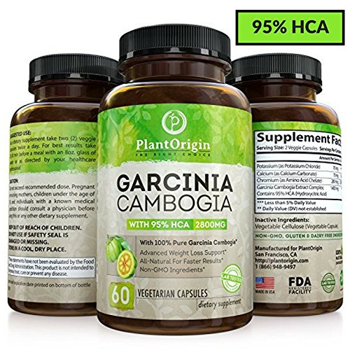 Garcinia Cambogia with 95% HCA - Highest Potency Appetite Suppressant, Carb Blocker & Fat Burner For Women & Men. Pure Garcinia Cambogia Extract - Natural Weight Loss Supplement - 60 Diet Pills
