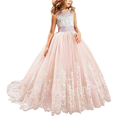 111f33ec726784 IBTOM CASTLE Blumenmädchen Festkleider Kleid Lang Brautjungfern Hochzeit  Festlich Kleidung Festzug #1 Rosa 2-