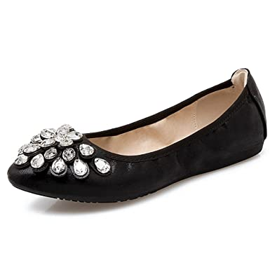 Rhinestone Decorated Pointed Toe Suede Flats yq V5168D