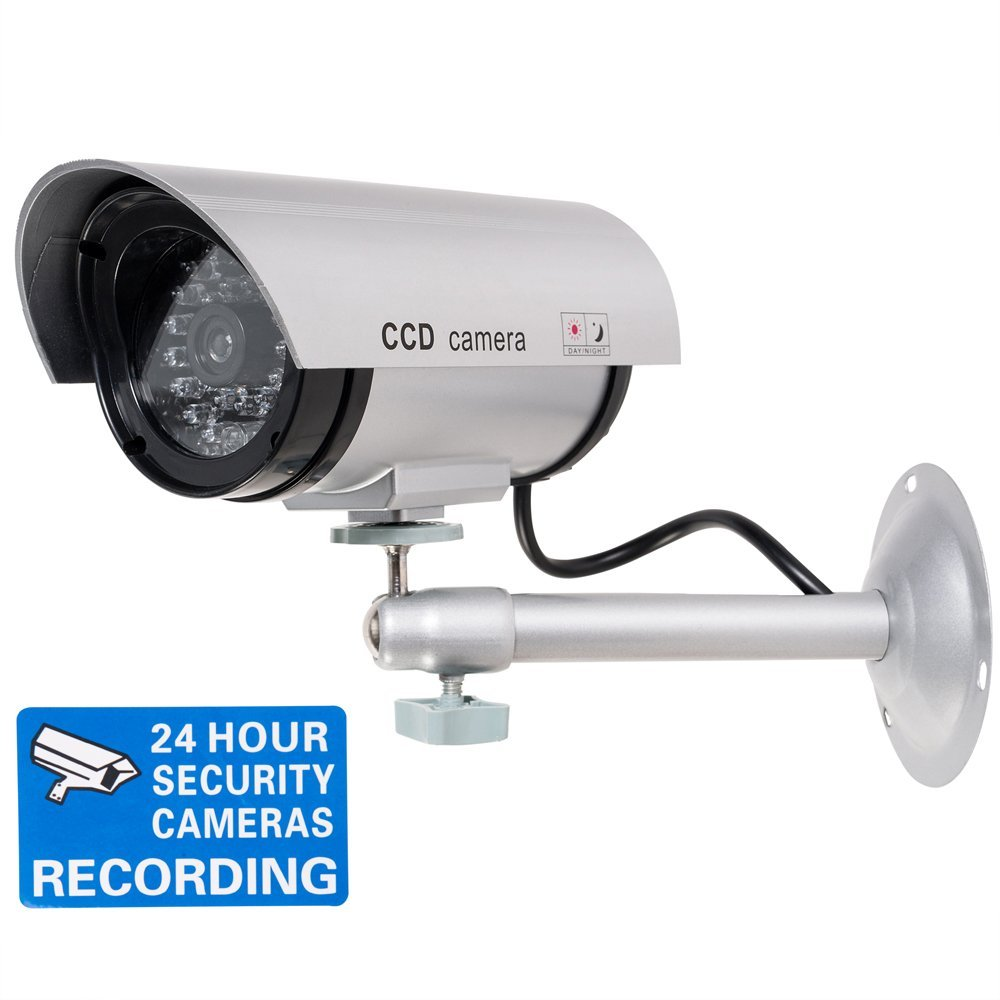 WALI Bullet Dummy Fake Surveillance Security CCTV Dome Camera Indoor Outdoor with Record LED Light + Warning Security Alert Sticker Decals WL-TC-S1 [並行輸入品] B01LXYWQL3