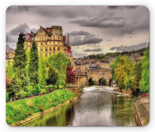 (Ambesonne Landscape Mouse Pad, Nature Themed View of Bath Town Over The River Avon in England Digital Print, Standard Size Rectangle Non-Slip Rubber Mousepad, Fern Green)