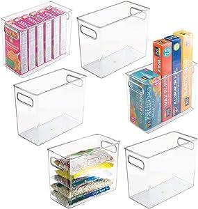 "mDesign Tall Plastic Kitchen Pantry Cabinet, Refrigerator or Freezer Food Storage Bin with Handles - Organizer for Fruit, Yogurt, Snacks, Pasta - Food Safe, BPA Free - 10"" Long, 6 Pack - Clear"