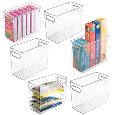 mDesign Tall Plastic Kitchen Pantry Cabinet, Refrigerator or Freezer Food Storage Bin with Handles - Organizer for Fruit, Yogurt, Snacks, Pasta - Food Safe, BPA Free - 10  Long, 6 Pack - Clear