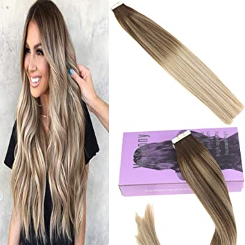Amazon Com Vesunny 14 Tape Ombre Hair Extensions Remy Human Hair