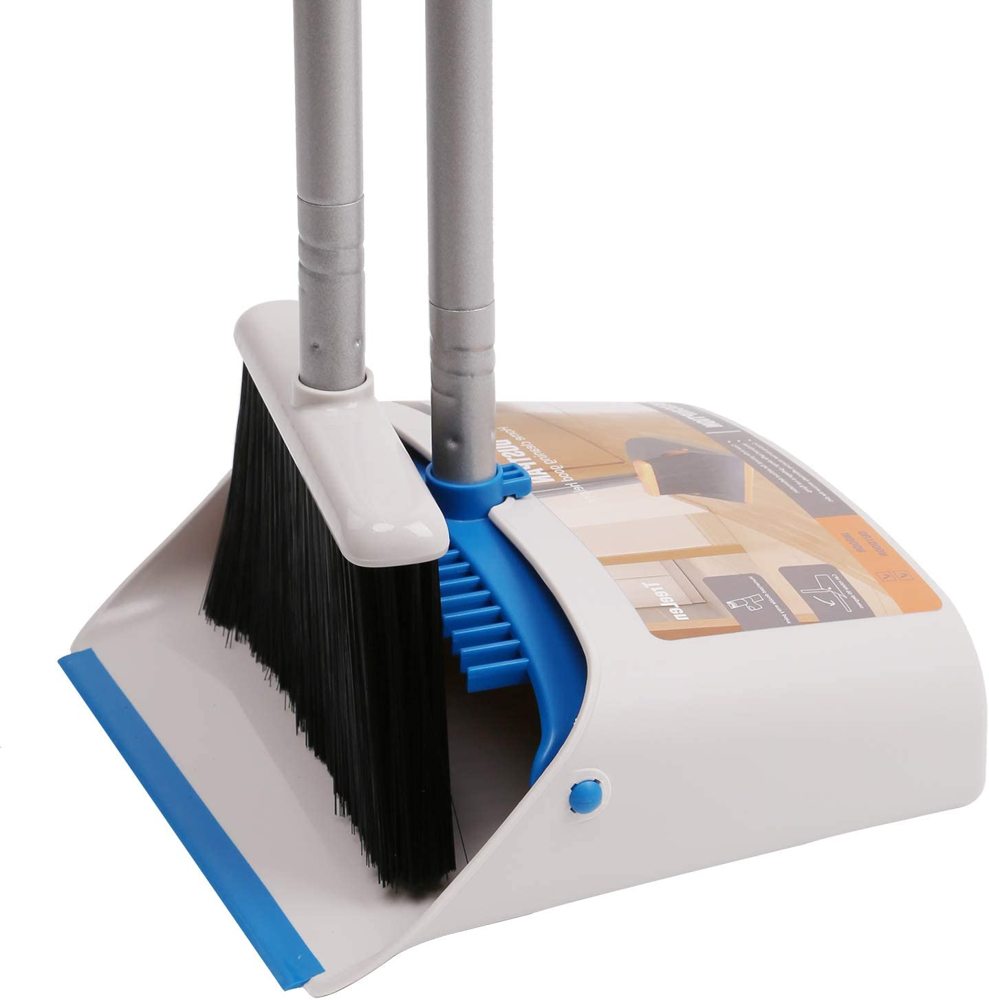 TreeLen Long Handle Broom and Dustpan Set,Upright Dust Pan Combo for Home, Kitchen, Room, Office, Lobby Floor Use Without Bending: Home & Kitchen